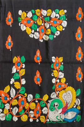 Multicolor  Kalamkari Cotton Blouse Fabric ( 1 Mtr ) - Luxurionworld