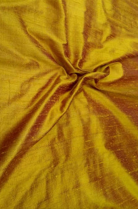 Yellow Handloom Raw Silk Plain Fabric 100 gsm (1 mtr)