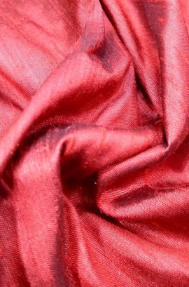 Red Shot Handloom Raw Silk Plain Fabric 100 gsm (1 mtr)