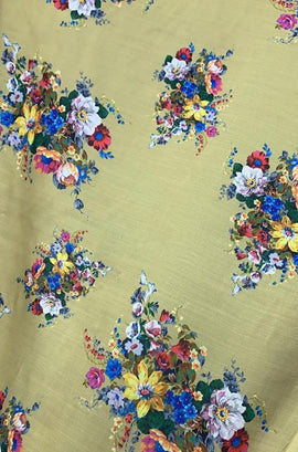 Yellow  Digital Printed Satin Silk Flower Design Fabric (1 Mtr) - Luxurionworld