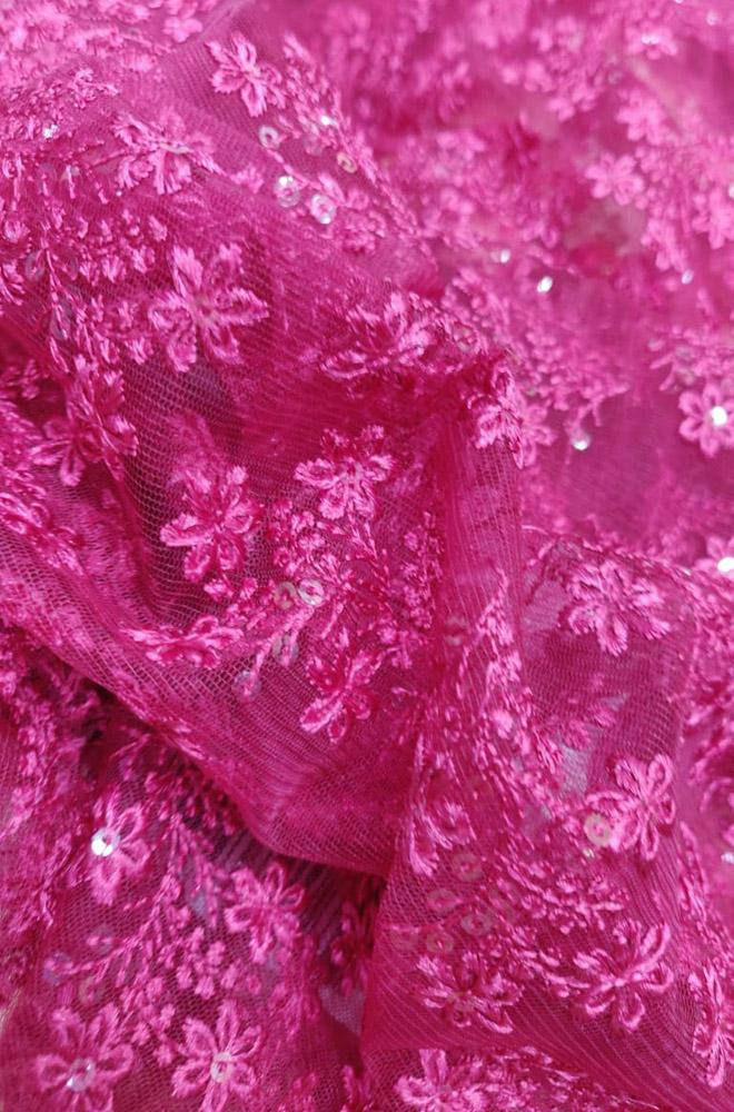 Pink Net Floral Design Trendy Fabric (2.5 mtrs)