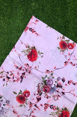 Pink  Trendy Digital Printed Cotton Silk Fabric (2.5 Mtr )