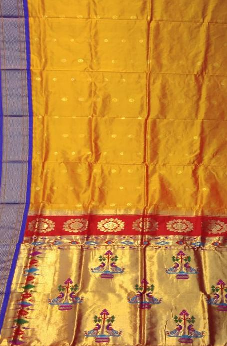 Yellow Handloom Paithani Pure Silk Peacock Pallu Saree