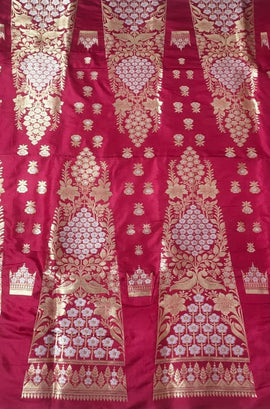 Red Handloom Banarasi Pure Silk Lehenga