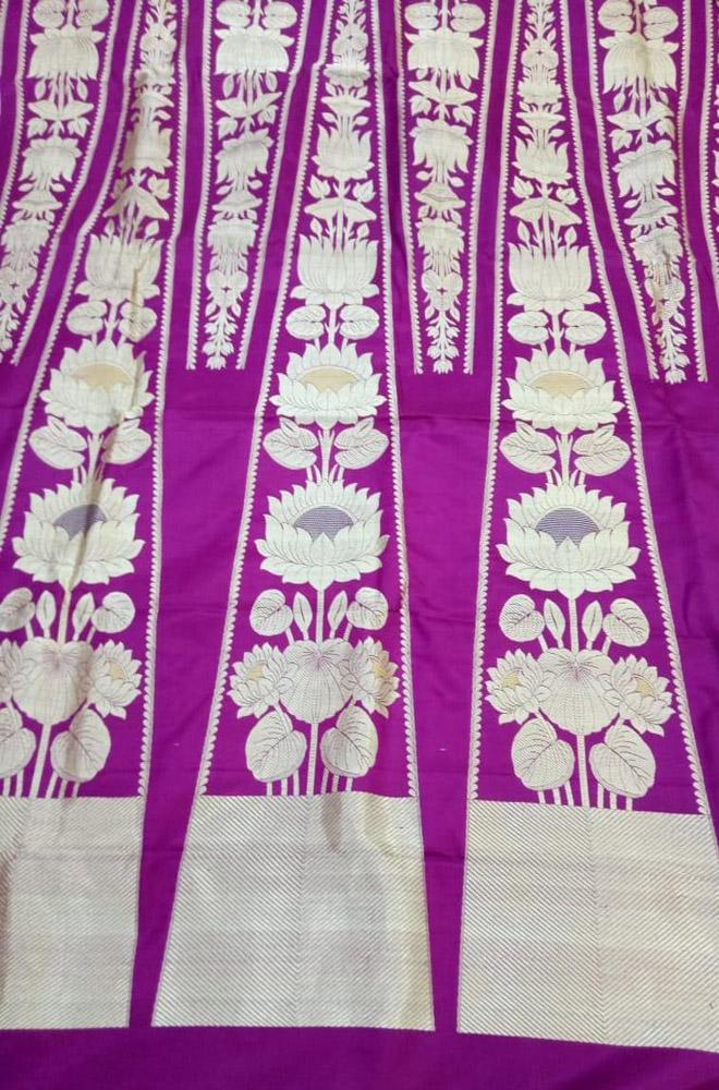 Purple Handloom Banarasi Pure Katan Silk Meenakari Lehenga Set with Contrast Blouse
