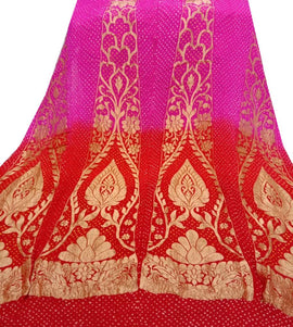 Pink and Red Banarasi Bandhani Pure Georgette Unstitched Lehenga Set