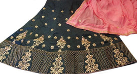 Black  Gota Patti Work Uppada Silk Semi Stitched Lehenga Set - Luxurionworld