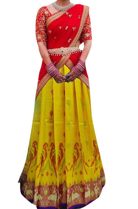 Yellow Handloom Ikat Pure Silk Lehenga With Animal Design Border - Luxurionworld