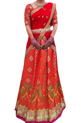 Red Handloom Ikat Pure Silk Lehenga With Animal Design Border - Luxurionworld