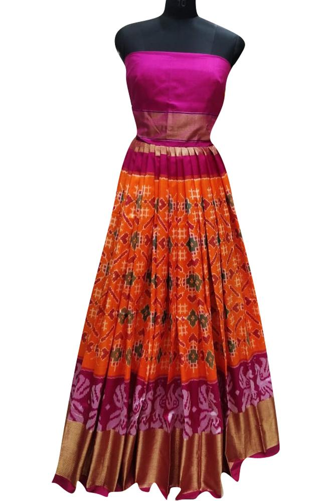 Orange Handloom Ikat Pure Silk Lehenga With Peacock Design Border - Luxurionworld