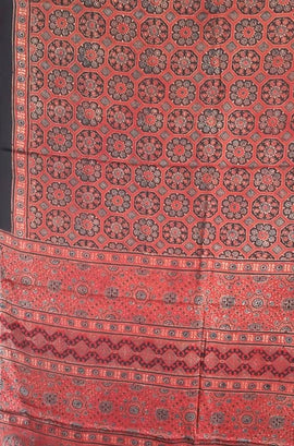 Red And Black Hand Block Printed Ajrakh Modal Silk Saree