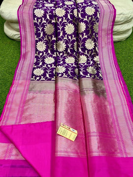 Purple Handloom Banarasi Pure Katan Silk Saree
