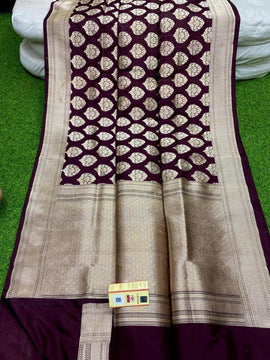 Brown Handloom Banarasi Pure Katan Silk Saree