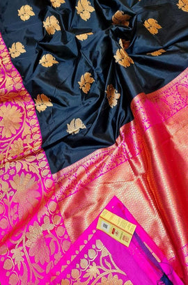 Black Handloom Banarasi Pure Katan Silk Kadwa Saree
