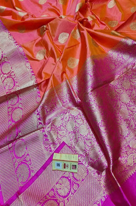 Pink Shot Color Handloom Banarasi Pure Katan Silk Kadwa Saree