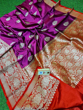 Purple Handloom Banarasi Pure Katan Silk Kadwa Saree