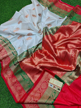 Off White Handloom Banarasi Pure Katan Silk Kadwa Saree