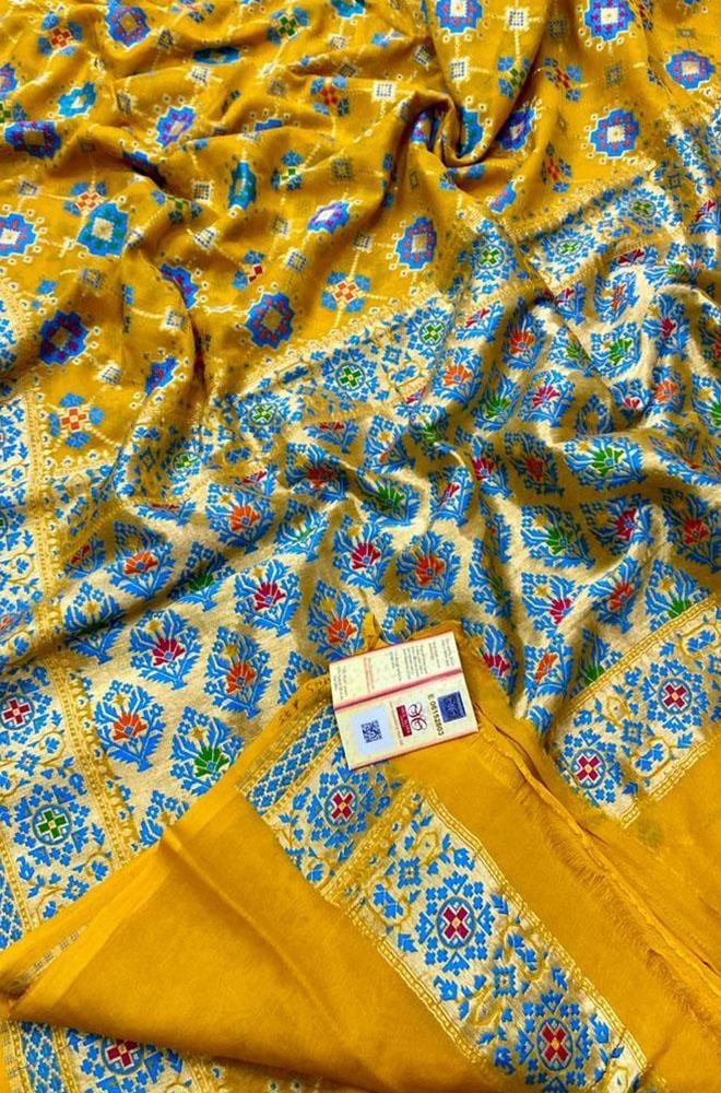 Yellow Handloom Banarasi Pure Chiffon Georgette Gharchola Meenakari Saree - Luxurionworld