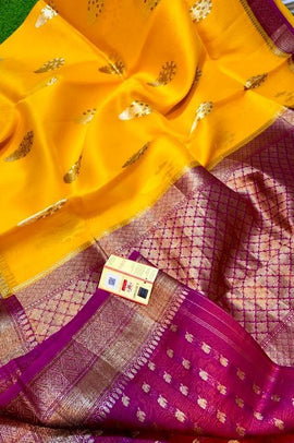 Yellow Handloom Banarasi Kora Organza Silk Saree