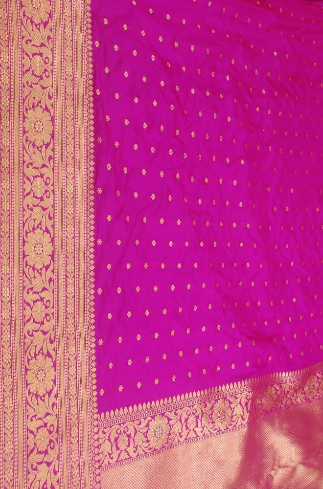 Pink Handloom Banarasi Pure Katan Silk All Over Small Booti Design Saree