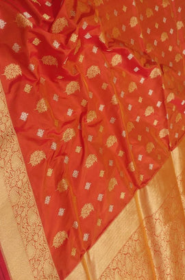 Orange Handloom Banarasi Pure Katan Silk Sona Roopa Saree - Luxurionworld