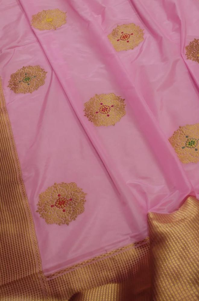 Pink Handloom Banarasi Silk Georgette Meenakari Saree - Luxurionworld