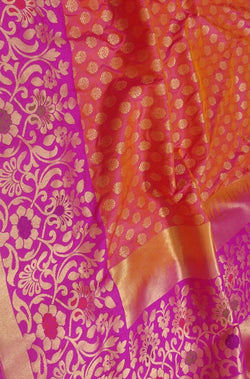 Pink Handloom Banarasi Pure Katan Silk Saree With Floral Design Meenakari Big Border - Luxurionworld