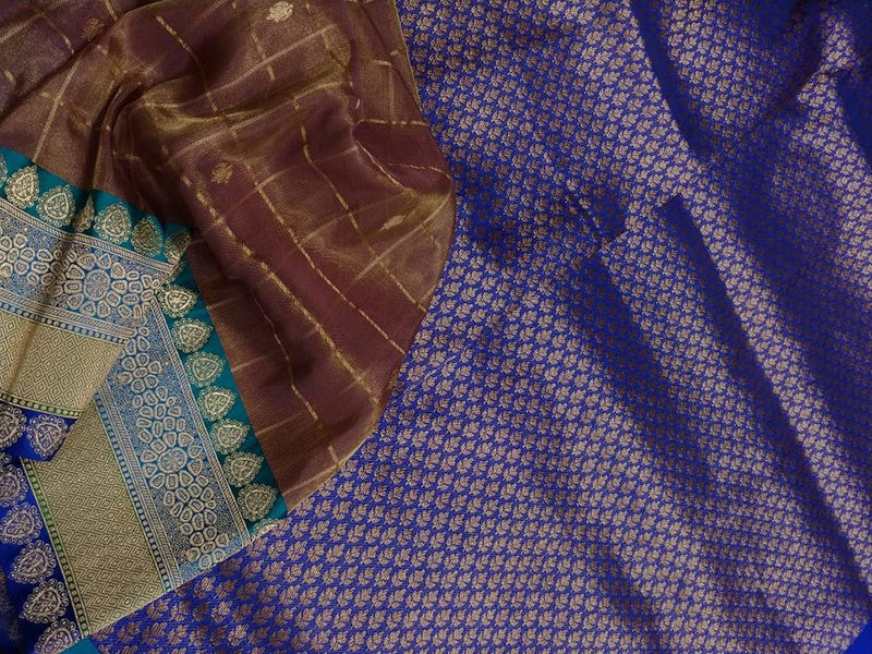 Brown Shot Checks Handloom Banarasi Tissue Silk Saree