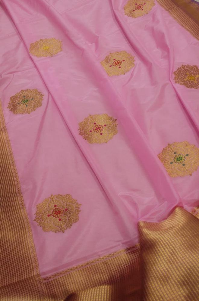 Pink Handloom Banarasi Silk Georgette Meena Boota Saree - Luxurionworld