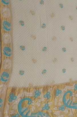 Dyeable Handloom Banarasi Pure Georgette Bird Design Saree