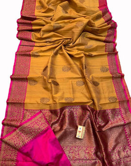 Yellow Handloom Banarasi Tussar Silk Saree