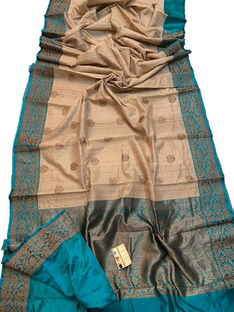 Pastel Handloom Banarasi Tussar Silk Saree - Luxurionworld