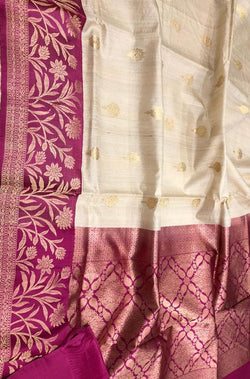 Off White Handloom Banarasi Tussar Silk Saree With Pink Contrast Border - Luxurionworld