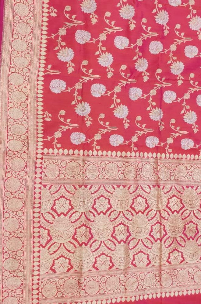 Pink Handloom Banarasi Pure Katan Silk Saree With Self Border