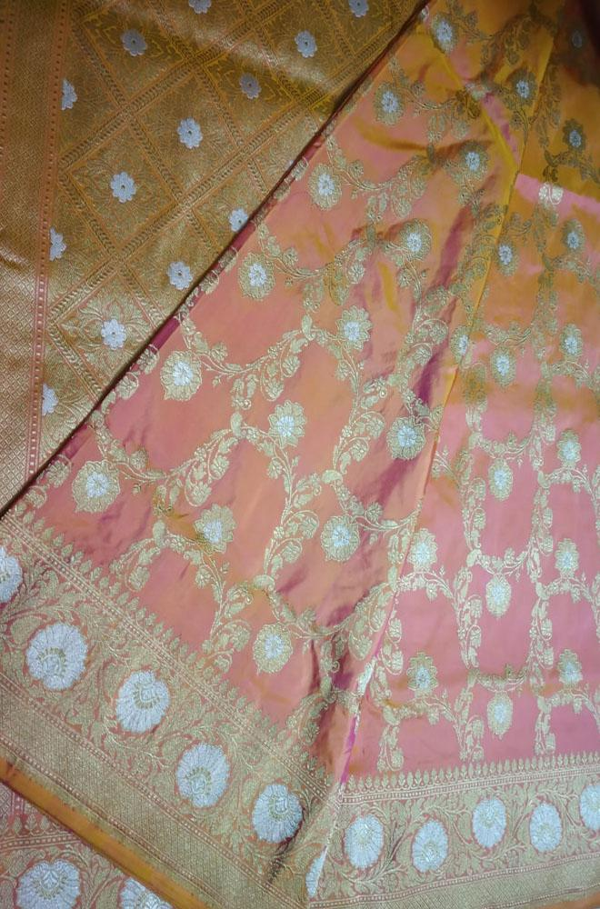 Pink Shot Color Handloom Banarasi Kadwa Jangla Pure Katan Silk Sona Roopa Saree With Self Border - Luxurionworld