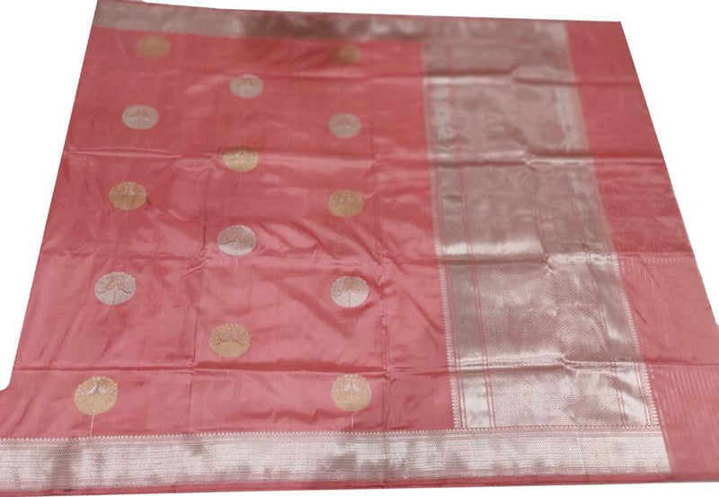 Pink Handloom Banarasi Pure Katan Silk Flower Design Sona Roopa Saree - Luxurionworld