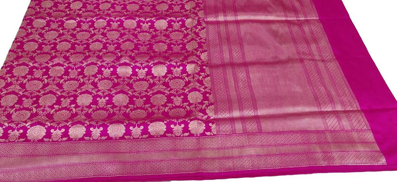 Pink Handloom Banarasi Pure Katan Silk Flower Design Saree