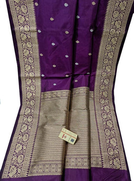 Purple Handloom Banarasi Pure Silk Saree