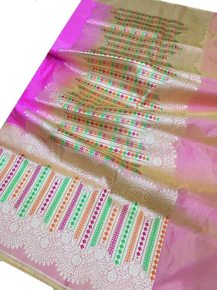Pink Handloom Banarasi Pure Katan Silk Rose Design Sona Roopa Meenakari Saree With Big Border