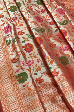Red Handloom Banarasi Pure Katan Silk Kimkhwab Saree - Luxurionworld