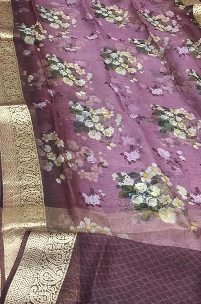 Purple Digital Printed Kora Silk Floral Design Saree With Zari Border