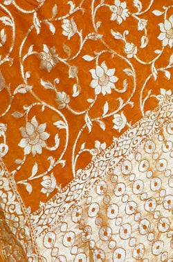 Orange Handloom Banarasi Pure Georgette Saree With Contrast Border - Luxurionworld