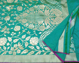 Blue Handloom Banarasi Pure Katan Silk Saree
