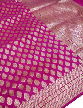 Pink Handloom Banarasi Katan Silk Opara Fully Kariyal Weaved Saree - Luxurionworld