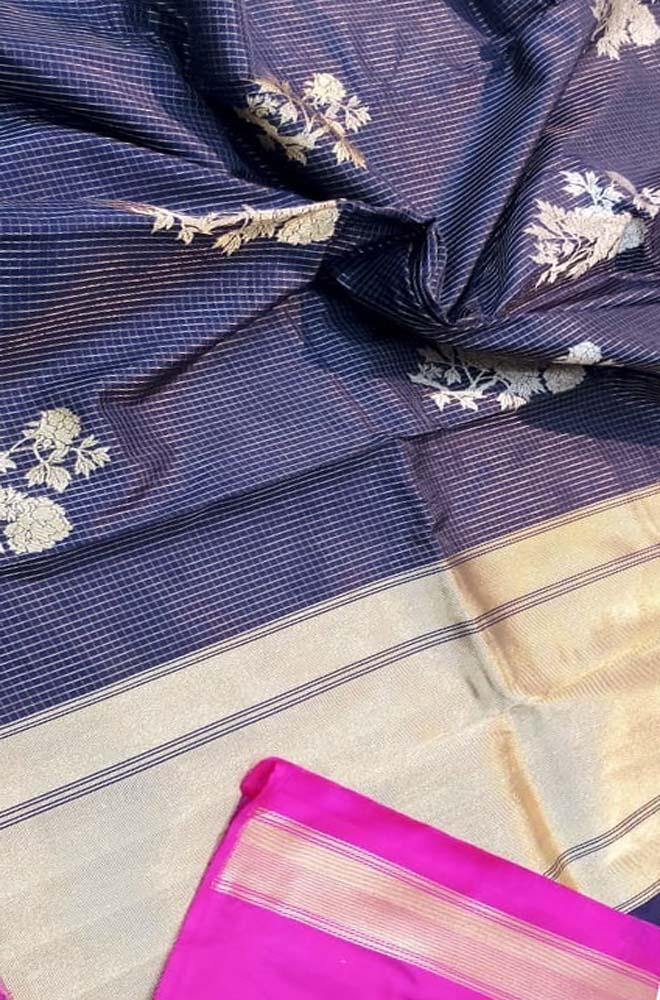 Black Handloom Banarasi Pure Katan Silk Saree - Luxurionworld