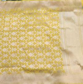 Yellow Handloom Banarasi Pure Katan Silk Saree