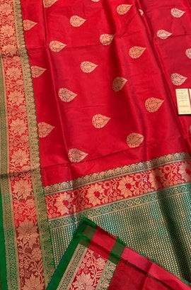 Red Handloom Banarasi Katan Silk Saree