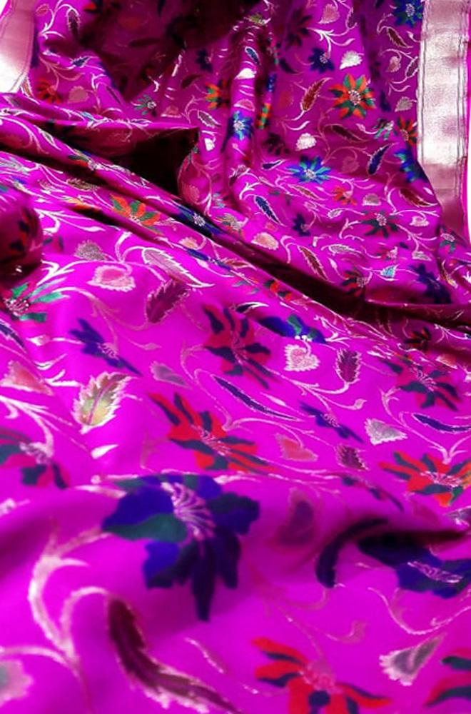 Purple Handloom Banarasi Pure Katan Silk Floral Design Meenakari Saree