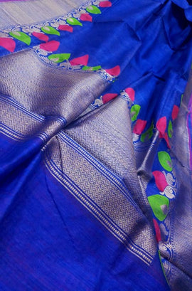 Blue Handloom Banarasi Dupion Silk Meenakari Saree - Luxurionworld