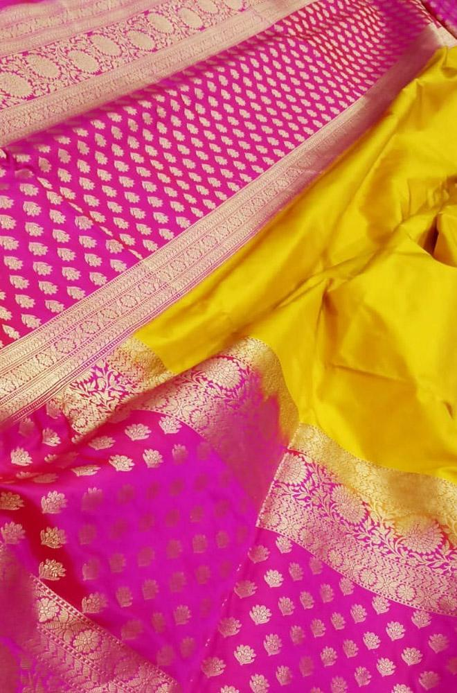 Yellow Handloom Banarasi Pure Katan Silk Saree With Big Border